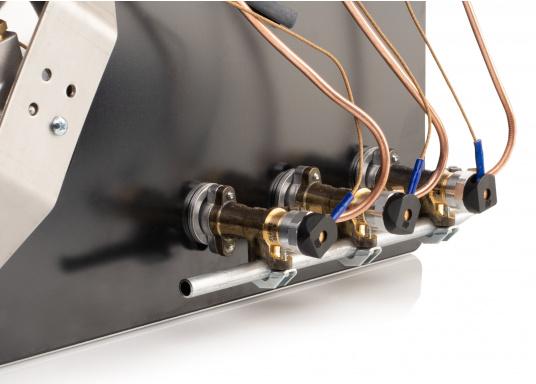 Der3-flammiger Einbaukocher besticht durch sein edles Design mit schwarzer Glaskeramik. Die Brennersind jeweils mit einer Zündsicherung ausgestattet. CE-Zulassung.Anschlussdruck: 30 mbar.  (Bild 5 von 7)