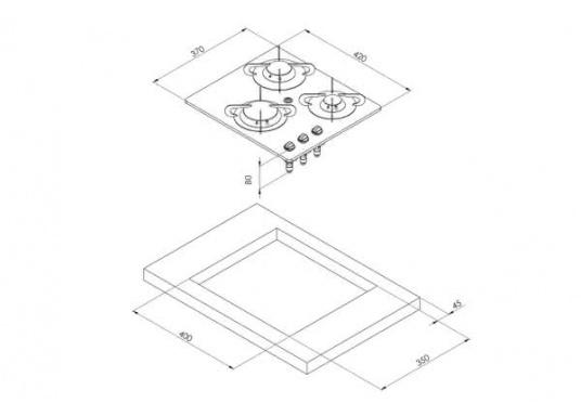 Der3-flammiger Einbaukocher besticht durch sein edles Design mit schwarzer Glaskeramik. Die Brennersind jeweils mit einer Zündsicherung ausgestattet. CE-Zulassung.Anschlussdruck: 30 mbar.  (Bild 7 von 7)