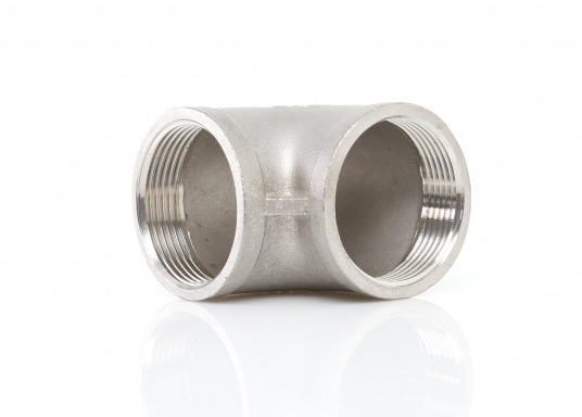 These stainless steel pipe elbows with 90° angle have a femal/female thread. Available in different sizes.