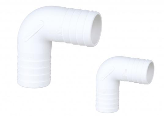 Sehr stabile Winkel-Schlauchverbinder, gefertigt aus glasfaserverstärktem Nylon-Verbundmaterial, 90°-Bogen. In verschiedenen Größen erhältlich.