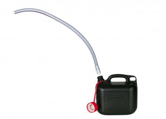 Tuyau avec pompe à siphonner à amorçage automatique pour carburants, eau ou tout autre liquide. Il suffit de plonger l'extrêmité dans le contenant source et d'excercer quelques mouvements de vas et vient avec le tuyau pour amorcer.  (Image 2 de 3)