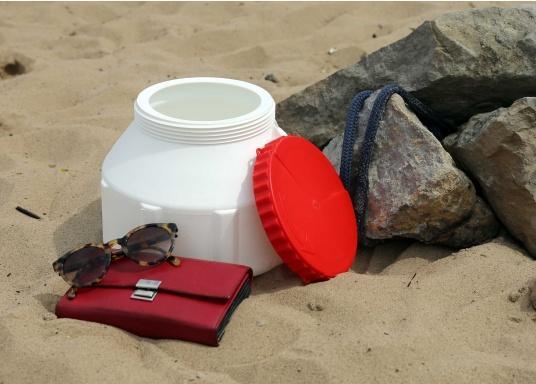 Verstauen Sie IhreNotpakete, Medikamente, Signalmittel etc. sicher in diese stabilen und wasserdicht verschließbaren Aufbewahrungsbehältern aus Kunststoff. Inhalt: 6 Liter.  (Bild 5 von 6)