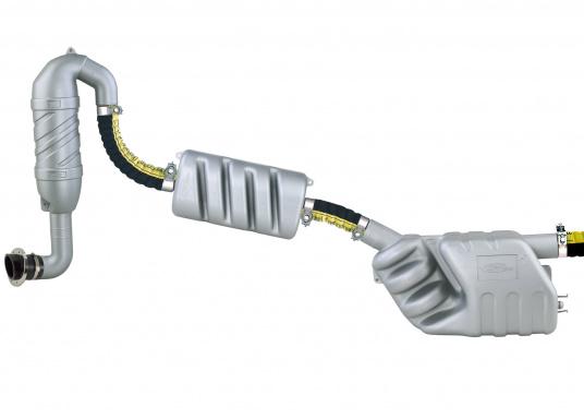 Abgas-Schwanenhälse auskorrosionsbeständigem Kunststoff, ausgestattet mit Schlauchanschlüssen fürflexible Abgasschläuche von 40 / 45 /50 mm Ø.Lieferbar mit senkrechtem oder schrägem Anschluss. (Bild 2 von 2)