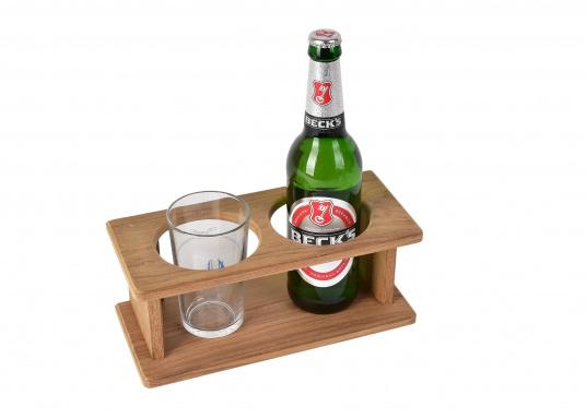 Flaschen- oder Glashalter aus hochwertigem Teak für 2 Flaschen / Gläser.