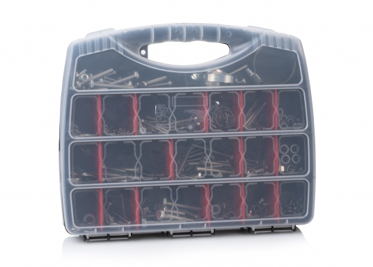 V4A screw case with 100 different products. The sturdy plastic case contains 375 items in assorted sizes: screws, nuts, clamps, cotter pins, spring washers, etc.