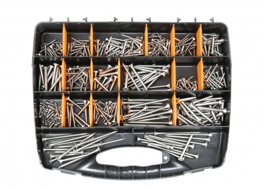 Extensive assortment: Tte V4A screw case contains 33 different items, totaling more than 520 items such as chipboard and sheet metal screws with countersunk head.