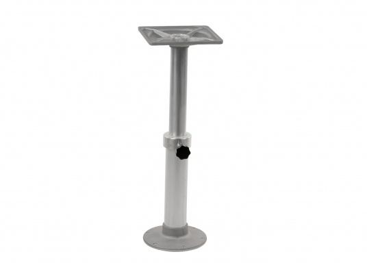 Bequeme Höhenverstellung! Der stabile Tischfuß aus Aluminium kann dank der einigebauten Gasfeder sehr einfach in der Höhe angepasst werden. Höhe: von 500mm bis 755 mm.  (Bild 2 von 5)