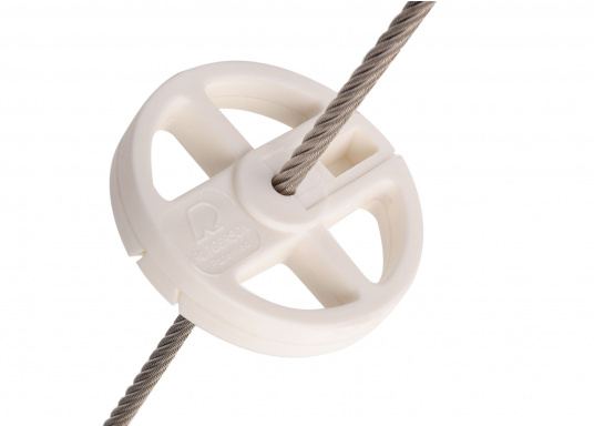 This 70 mm diameter jib roller is a chafe protector and helps the jib trim over the rails upwind. It can be adjusted to the wire diameter by drilling it out.