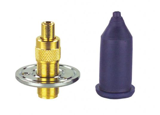 Wasserdichte Decks-Trennstelle für Koaxkabel. Flansch-Ø: 45 mm. Geeignet für 6 mm Kabel-Ø (RG58U).