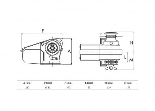 Leistungsstarke, kompakte, elektrische Ankerwinde für Boote bis 12 m. Gehäuse aus seewasserbeständiger Alulegierung, dauerhaft silber eloxiert. Lieferung komplett mit Relaisbox.  (Bild 2 von 2)