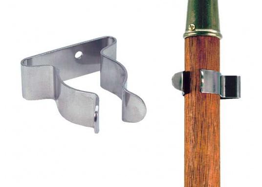 Sehr praktischer und nützlicher Bootshaken-Clip aus rostfreiem Edelstahl. Geeignet für Bootshaken, Schrubberstiele etc. In2 Größen Lieferbar.  (Bild 2 von 2)