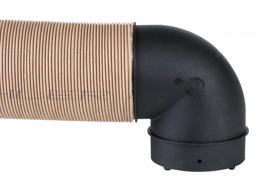 90° elbow for warm air ducts. Two models available.