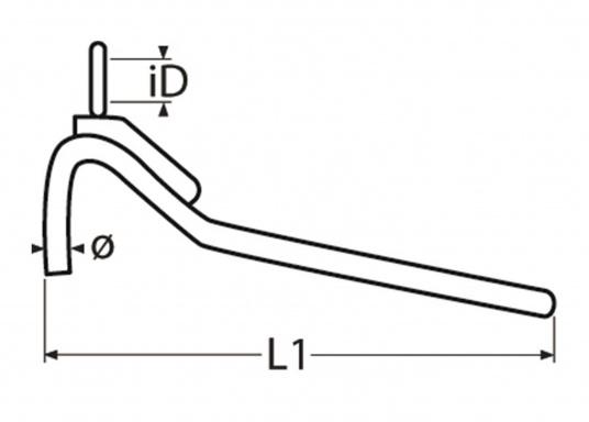 Stabile Edelstahlkralle mit eingespleißter Leine. Ideal zur Verminderung von Schlägen und als Ruckdämpfer für die Kette geeignet.  (Bild 5 von 7)