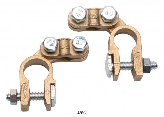 Anschlussklemmen aus säurebeständigem und oxydationsfesten Material. Ausführung mit Schnellverschluss. Lieferung paarweise (+ / - Pol).