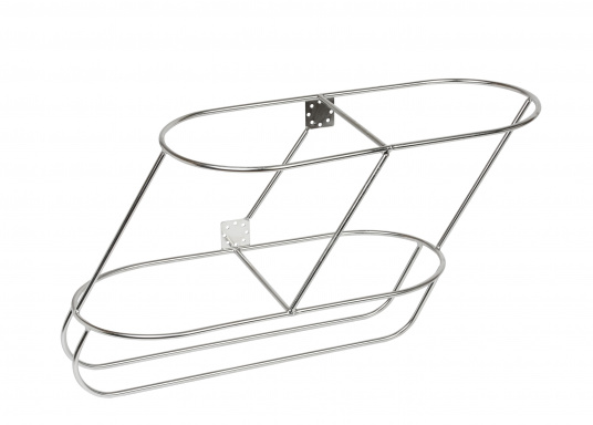 Very solid fender rack for twofenders. Available for different fender sizes, inclined.