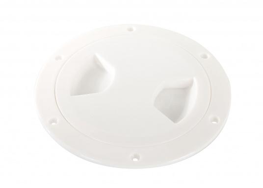 Runder Inspektionsdeckel mit 4-fach Bajonettverschluss und einer im Einbaurahmen eingelegten Deckeldichtung. Farbe: weiß.
