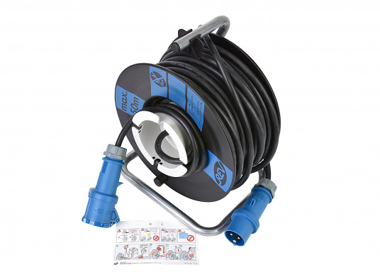 High-quality cable drum with 25 m cable. Extra thick insulation, durable, suitable for outdoor use. With CEE plug and coupling. Additionally equipped with thermal protection switch / overload protection.  (Image 3 of 3)