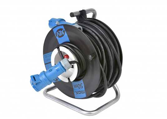 High-quality cable drum with 25 m cable. Extra thick insulation, durable, suitable for outdoor use. With CEE plug and coupling. Additionally equipped with thermal protection switch / overload protection.