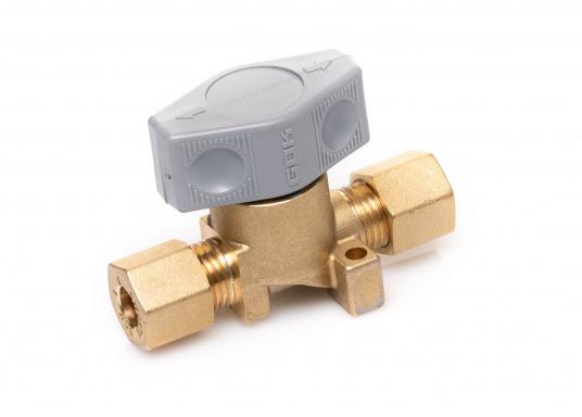 Dieses Sicherheits-Schnellverschluss-Absperrventil ist geeignet für 8 mm Rohre bzw. Schläuche mit Rohr-Endstücken.