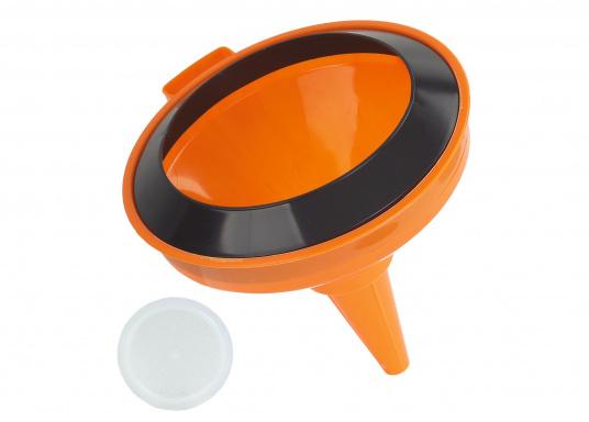Schwimmfähiger Trichter mit einlegbarem Sieb. Hergestellt aus Kunststoff. Durchmesser: ca. 15 cm.