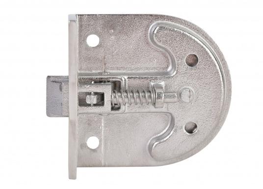 Schnappverschluss aus Edelstahl. Mit Schließblech. Abmessungen: 57 x 60 mm, Einbautiefe: 18 mm.  (Bild 3 von 3)