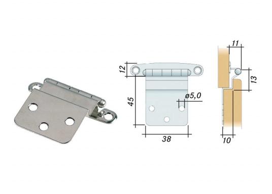 Diese Edelstahl-Scharniere sind gekröpft und für Türmontage geeignet.