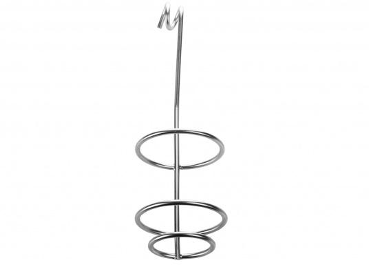 Dieser Flaschen- oder Dosenhalter kann in den Relingsdraht eingehängt werden. Der Durchmesser des Halters kann mittels Verdrehen des Drahtes angepasst werden. Abmessungen: 265 x 73 cm.  (Bild 4 von 4)