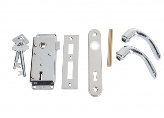 Kompaktes, verchromtes Schloss, ideal für Innen- und WC-Türen. Mit Langschild,jeweils für rechts oder links. Inklusive Säbeldrücker, Knauf, Langschildund 2 Schlüsseln.  (Bild 2 von 5)