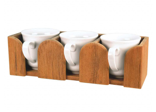 Teak Tassenhalter für 3 Tassen. Loch-ø 8 cm, 29,5 x 10 x 9 cm.