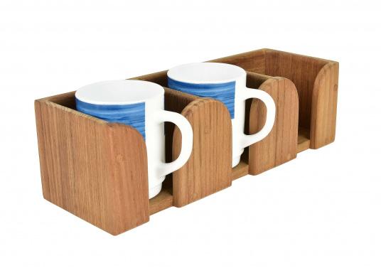 Teak Tassenhalter für 3 Tassen. Loch-ø 8 cm, 29,5 x 10 x 9 cm. (Bild 2 von 3)