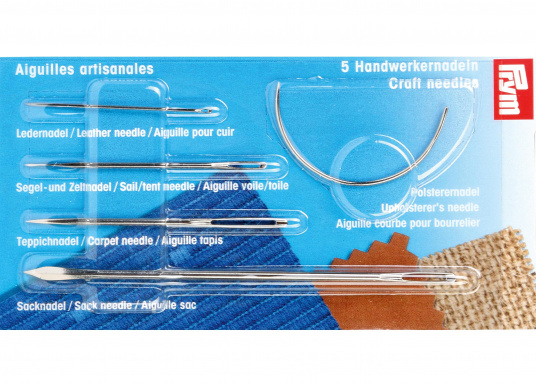 Stabile Handwerkernadeln im Set: Nähnadeln für die Segelreparatur, sowie Polster- und Ledernäharbeiten. Das Set beinhaltet vier gerade Nadeln und eine gebogene Nadel, speziell für verdeckte Nähte.