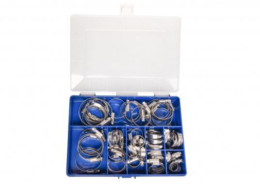 Schlauchschellen-Set in stabiler Kunststoffbox mit verschließbarem Deckel. Die Box ist mit Edelstahl-Schlauchschellen in unterschiedlichen Spannbereichen speziell für den Bedarf an Bord sortiert. Erhältlich in zwei Ausführungen. (Bild 2 von 3)