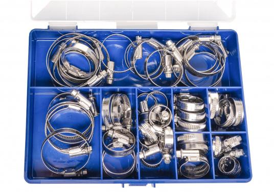 Schlauchschellen-Set in stabiler Kunststoffbox mit verschließbarem Deckel. Die Box ist mit Edelstahl-Schlauchschellen in unterschiedlichen Spannbereichen speziell für den Bedarf an Bord sortiert. Erhältlich in zwei Ausführungen.