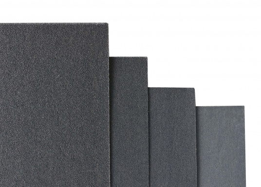 Hochleistungs- / Nassschleifpapier. Bogengröße: 230 x 280 mm. Lieferbar in verschiedenen Körnungen. Preis per Bogen.