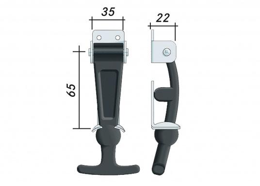 Haubenverschluss mit abnehmbarem Hebel, gefertigt aus Chloroprengummi mit Frostschutz. Metallteile aus Edelstahl, AISI304 (V2A). Gesamtlänge: 130 mm. (Bild 4 von 4)