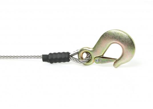 Câble de remorquepour un levage sans à-coups. Prêt à être utilisé. Avec 6 m ou 9 m de câble galva de5mm et crochet galva. Charge de travail : 1 T. Rupture : 1.5 T.  (Image 2 de 4)