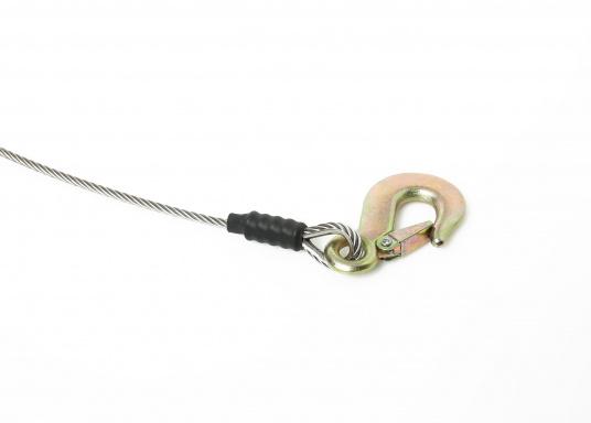 Câble de remorquepour un levage sans à-coups. Prêt à être utilisé. Avec 6 m ou 9 m de câble galva de5mm et crochet galva. Charge de travail : 1 T. Rupture : 1.5 T.  (Image 4 de 4)