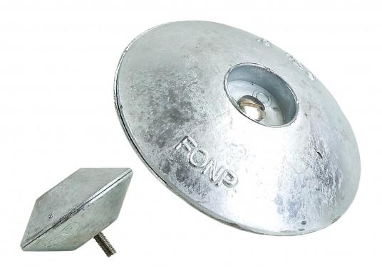 Diese Zinkanoden in runder Bauform bestehen aus zwei Hälften (Ober/Unterteil). Sie sind für Ruderblätter und Trimmklappengeeignet und in verschiedenen Größen erhältlich.