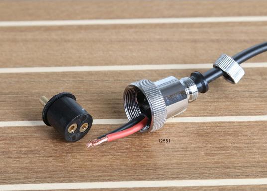 Diese Steckverbindungen aus Messing, verchromt sind gut geeignet für den Anschluss von Positionslaternen, Scheinwerfern etc. Sie sind wasserdicht und seewasserfest. Erhältlich in verschiedenen Ausführungen.  (Bild 5 von 6)