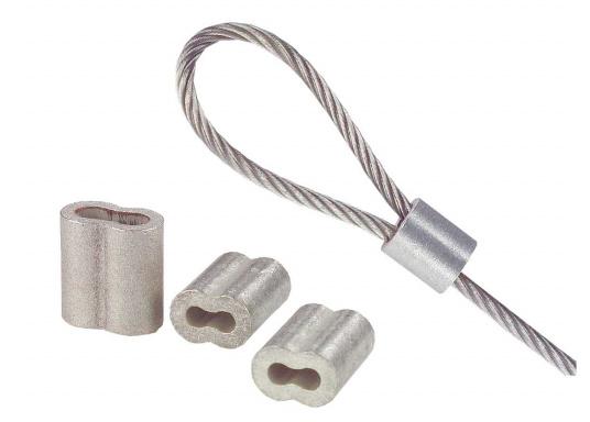 Presshülsen zum präzisen, hochfesten Verpressen von Drahtseilen. Hergestellt aus verzinntem Kupfer. Lieferung als Verpackungseinheit mit je 10 Stück. (Bild 2 von 3)