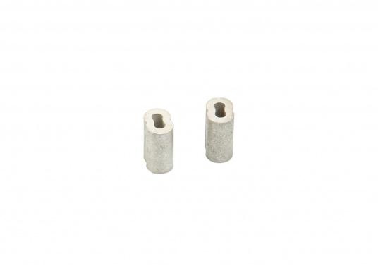 Presshülsen zum präzisen, hochfesten Verpressen von Drahtseilen. Hergestellt aus verzinntem Kupfer. Lieferung als Verpackungseinheit mit je 10 Stück. (Bild 3 von 3)
