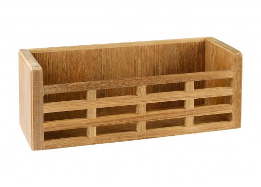 Questo ripiano in legno pregiatoè dotato di montanti per prevenire le cadute di oggetti. Dimensioni: 28 x 10 x 10,5 cm.