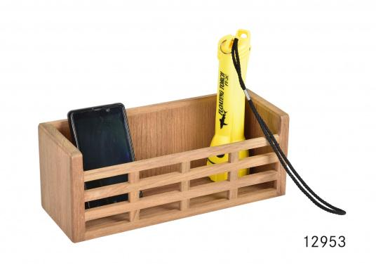 Keep it tidy on board! This teak rack keeps equipment inplace duringany sea conditions. Dimensions: 28 x 10 x 10.5 cm.  (Image 2 of 3)