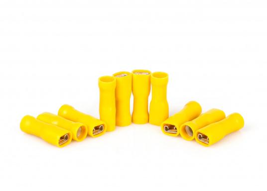 Diese praktischen Flachsteckhülsen sind vollisoliert. Lieferbar in drei verschiedenen Größen und Farben.  (Bild 2 von 4)