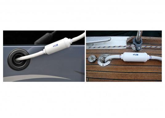 """Handlicher und kompakter Filter. Einfach auf den Wasserschlauch der Steganlage oder an Bord """"fliegend"""" montieren. Filterkapazität: ca. 3000 Liter bzw. 1 Jahr. Für Schläuche mit 13 mm Innendurchmesser geeignet. (Bild 3 von 3)"""