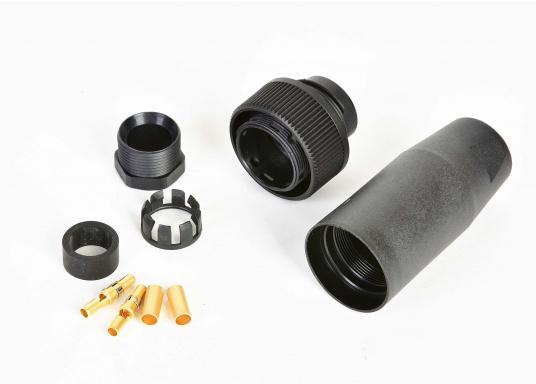 Wasserdichte 16-polige Steckverbindung / Trennstelle für Radaranlagen, geeignet fürFURUNO, JRC und Raymarine LCD-Radaranlagen. Erhältlich als Kupplungsstecker-Winkelsteckdose.  (Bild 2 von 2)