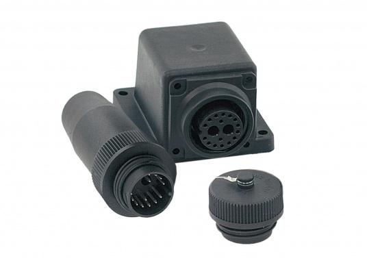 Wasserdichte 16-polige Steckverbindung / Trennstelle für Radaranlagen, geeignet fürFURUNO, JRC und Raymarine LCD-Radaranlagen. Erhältlich als Kupplungsstecker-Winkelsteckdose.