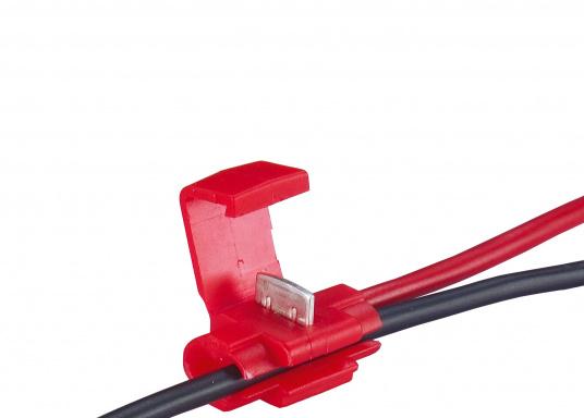 Zum schnellen und sicheren Verbinden von Kabeln. Durch spezielle Messerkontakte ist das Abisolieren überflüssig. Erhältlich in zwei Größen und Farben.