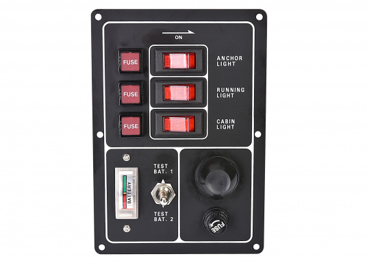 The faceplate is made out of matt black anodized aluminum. The 3 switches are equipped with indirect lighting. Supplied with fuses. Additionally, this panel is equipped with a voltmeter for battery 1 + 2 and with a cigarette lighter and fuse.