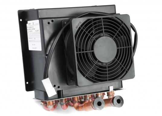 Warmwasser-Luft-Wärmetauscher und Heizgebläse, geeignet für Warmwasserheizungen oder Direktmontage in den Motorkreislauf.Erhältlich in zwei Ausführungen: Als 12 V oder 24 V Version.  (Bild 4 von 5)